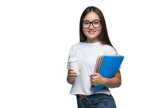 young-asian-girl-with-notebook-coffee-go-hands-standing-isolated-against-gray-background
