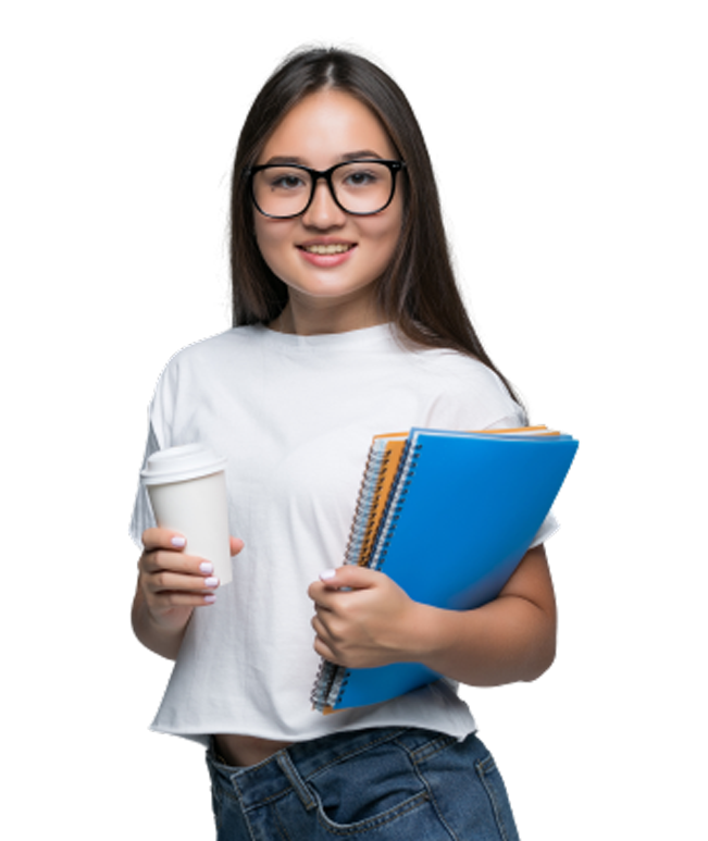 young asian girl with notebook coffee go hands
