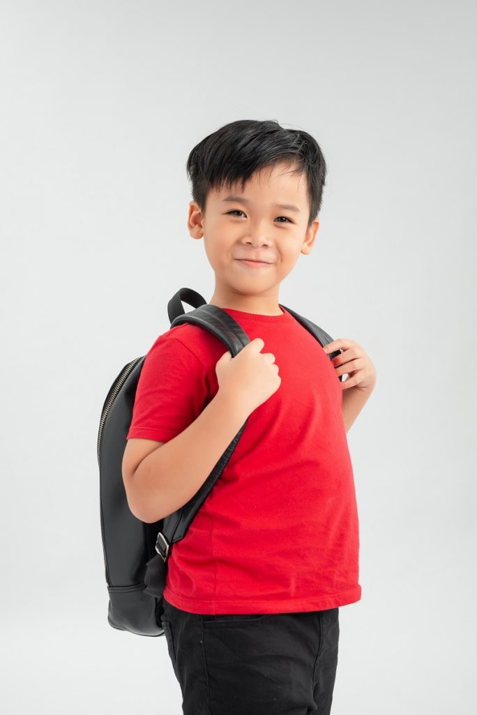 portrait of a school boy with backpack isolated against white background